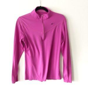 Nike FITDRY Quarter Zip Long Sleeve Pink Top EUC